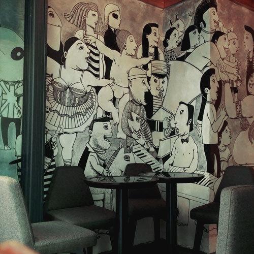 商用壁畫Mural painting in commercial space 通過客戶品牌元素及主顯,以合適之繪畫風格,表現出具藝術感和觀賞性高的原創壁畫,為品牌的宣傳推廣錦上添花。