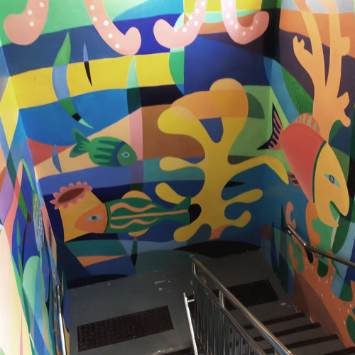 學校壁畫Mural painting in educational space 充滿生機與趣味的學校手繪壁畫,體現著教育機構的人文關懷,與及一個愉悅的學習和工作環境。