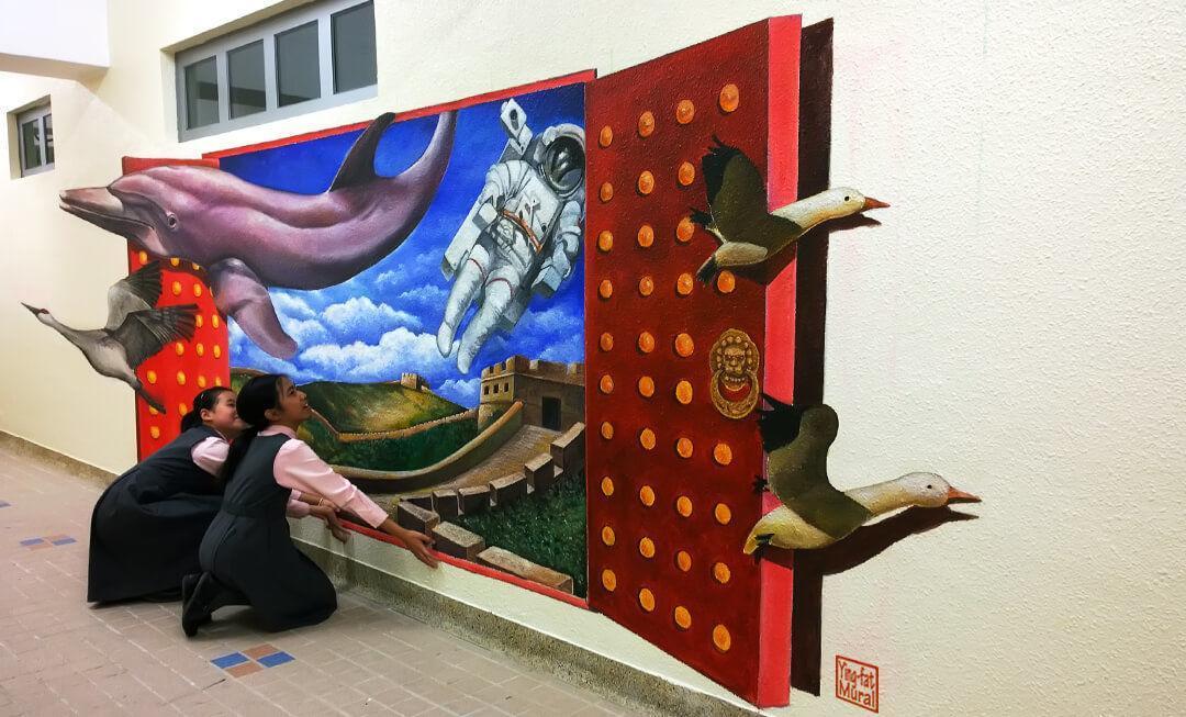 藝術家駐校壁畫-校園3D館